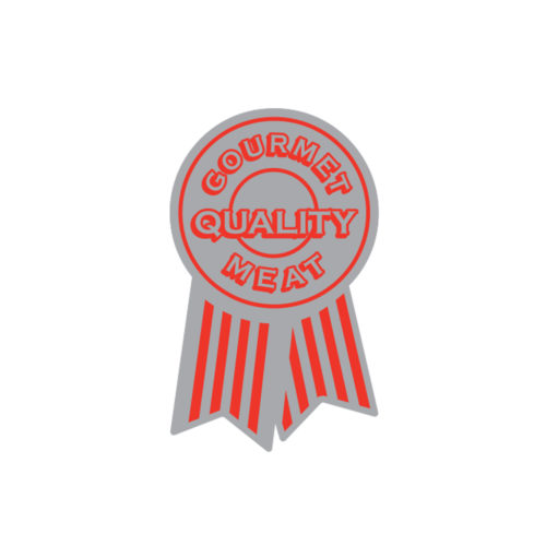 Gourmet Quality Red Ribbon Butcher Meat Label