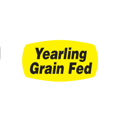 Yearling Grain Fed Butcher Meat Display Label